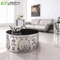 Hotel new design black round stainless steel dressing table glass center side table