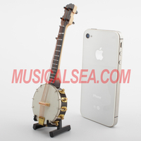 Wholesale Miniature banjo model musical instruments handmade small wooden toy craft