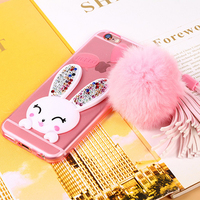 For Samsung S4 S5 S6 S6edge Rhinestone Cute TPU Rabbit Case,for iPhone 6 6s 6plus 6s plus 5 Cell Phone Stand Cover