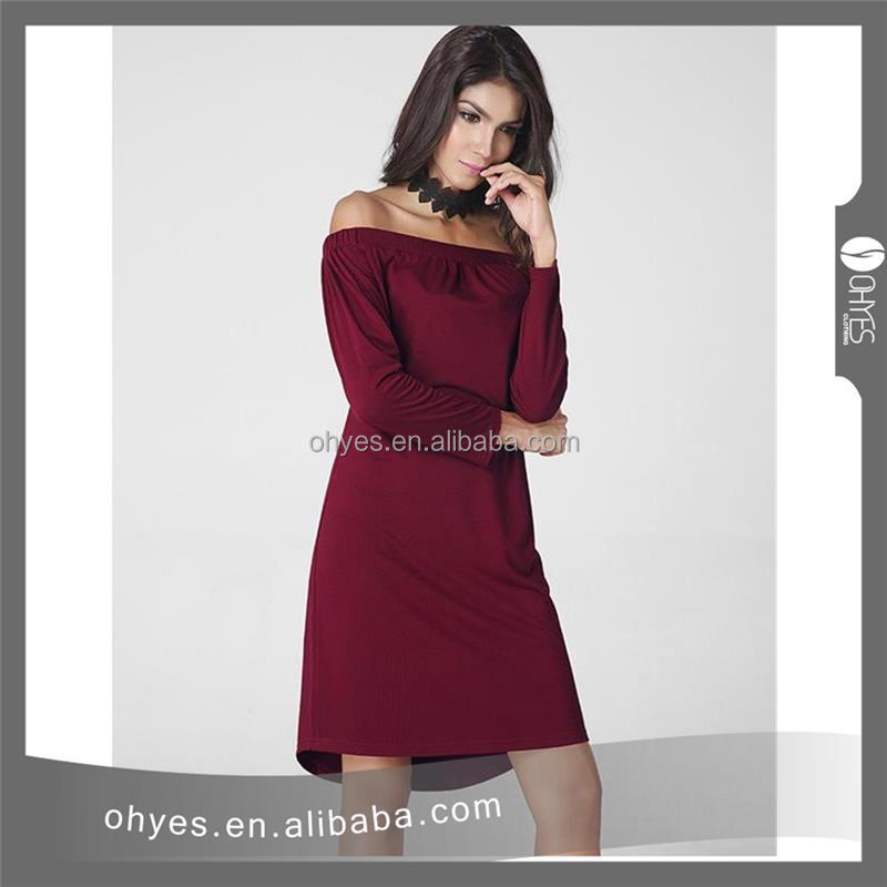 Attractive fashion 2017 new design casual dress wine coloured dress with great price