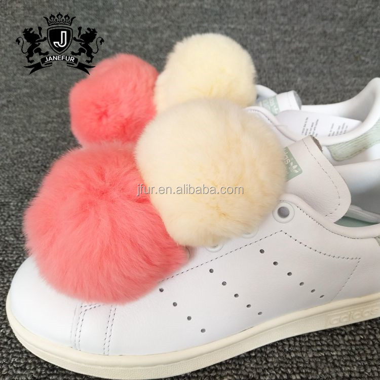 Top Fashion Plush Phone Colorful Ball Bag Charm Rex Rabbit Fur Pom Poms