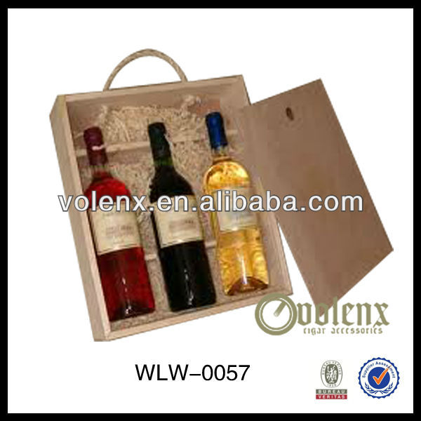 Unfinished Pine 3 Bottle Wine Bag in Box Holder Product Wholesale