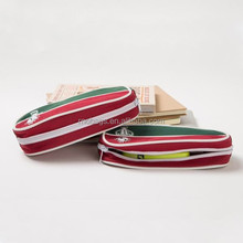 contrast colour canvas zipper pencil bag