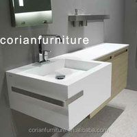 New design acrylic solid surface custom sized built wall hung bathroom vanity