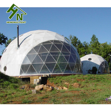 6m Diameter Steel Frame Clear Glamping Geodesic Dome House Tent With Wooden Floor