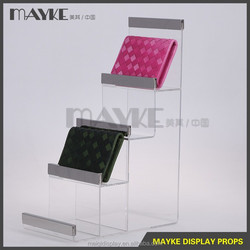 Most Professional factory supply Acrylic and steel Wallet purse handbag display/Acrylic wallet display stand