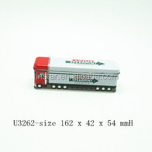 bus shape chewing gum tin box with hinge