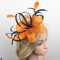 New Style Halloween Decorative Hair Accessories GOLD Fabric Flower Fascinator With Feather