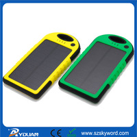 Waterproof(IP 5) Solar Power Bank, 5000mAh Li-polymer power bank, LED Flashlights Wireless Solar Charger