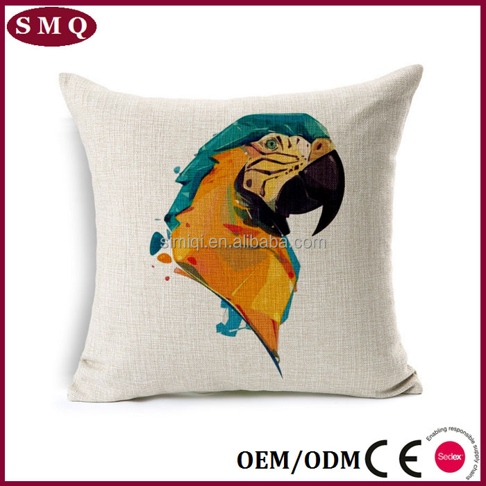 Vivid parrot oil painting style home decorative pillow cover wholesale