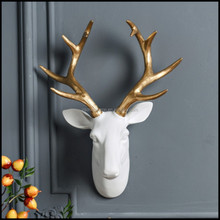 Resin Deer Antler Wall Decor With White Black Gold Color 3d animal wall decor For Home Decor