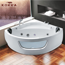 Corner fan-shaped desings Acrylic transparent Whirlpool Massage Bathtub with jet clear small Glass Window