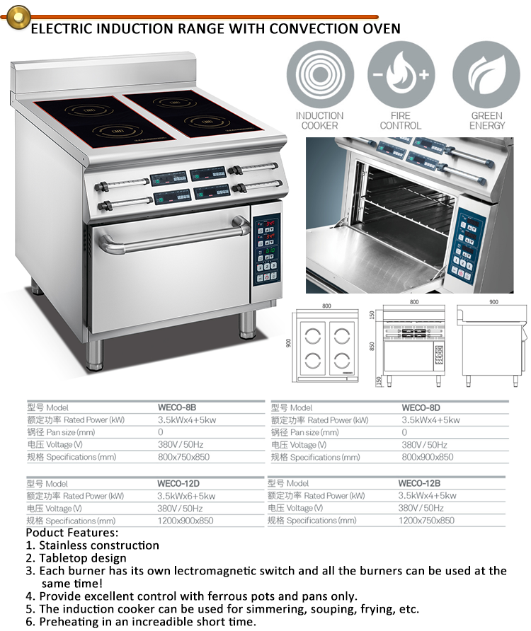 Multi cuisinière à induction 4 brûleur électrique cuisinière avec ...