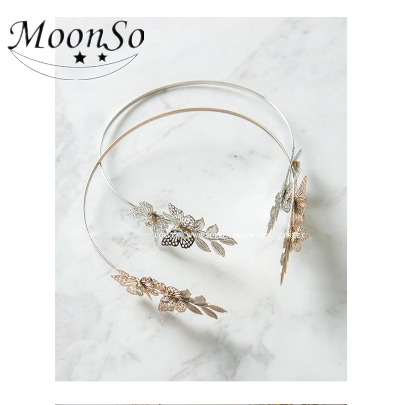 Jewelry Wholesale!!! 2016 NEW Vintage Hair Accessories Fashion Rose Leave Headband Hair Pin for Women MoonSo AH2613