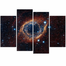 Modern Galaxy Canvas Print/4 Panel Wall Painting Art/Space Landscape Canvas Wall Art