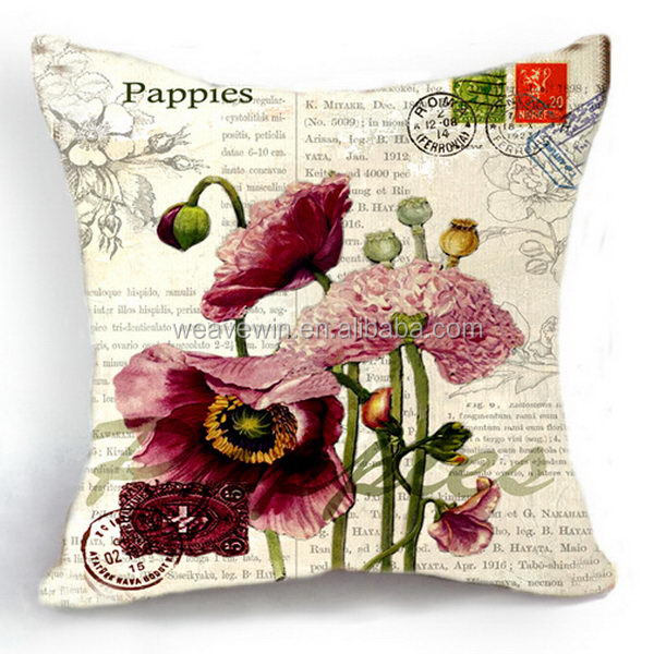 Good quality stylish 100% cotton canvas Promotion Machine washable decor throw pillow cover