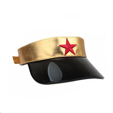 Waterproof gold leather 3d embroidered star sun visor cap hat with black plastic pvc curved bill