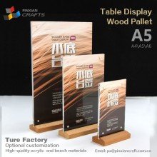 A4A5A6 manufacturer customized Mobile phone digital products store cake hotel restaurant menu wooden menu holder power bank