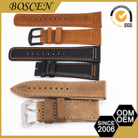 Oem Production Cheap Nato Style Ladies Watches Brown Leather Strap