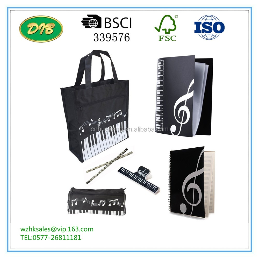 Music Art Students Study Set, Oxford Cloth Piano Book Bag, Files Folder, Music Staff Paper, Pen Holder, Pencils, Book Clip,