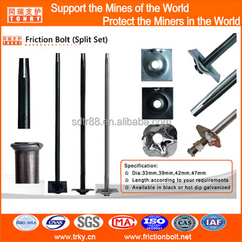 friction rock stabilizer split set bolts with domed plate