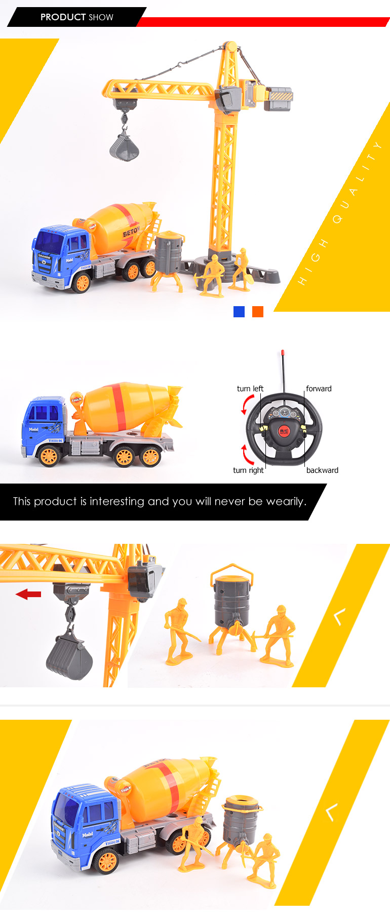 newest item construction toy set 4ch model mixer truck rc cranes for sale