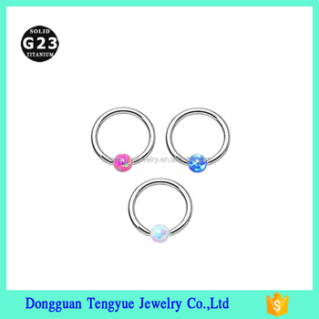 "16G Nose Hoop Ring 3/8"" G23 Titanium Body Piercing Colorful Nose Stud Ring"