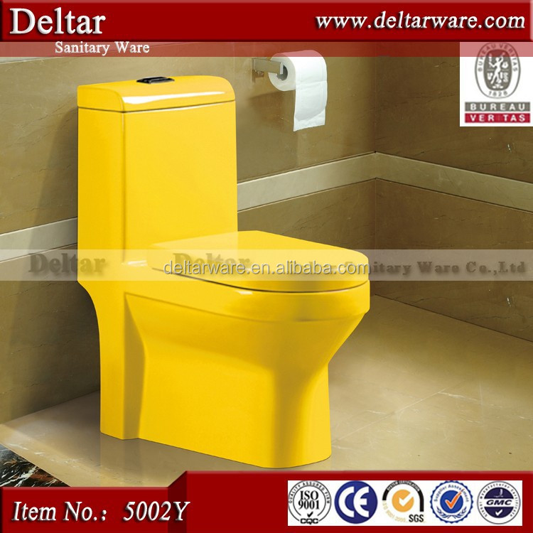 Yellow/Red/Black/Green color Porcelain One piece Toilet for European, Yellow closestool can make in other color