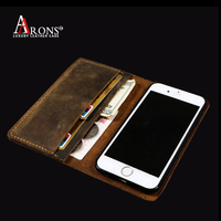 Distressed leather flip caes vintage leather wallet case for iphone