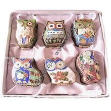 owl design cloisonne jewelry boxes