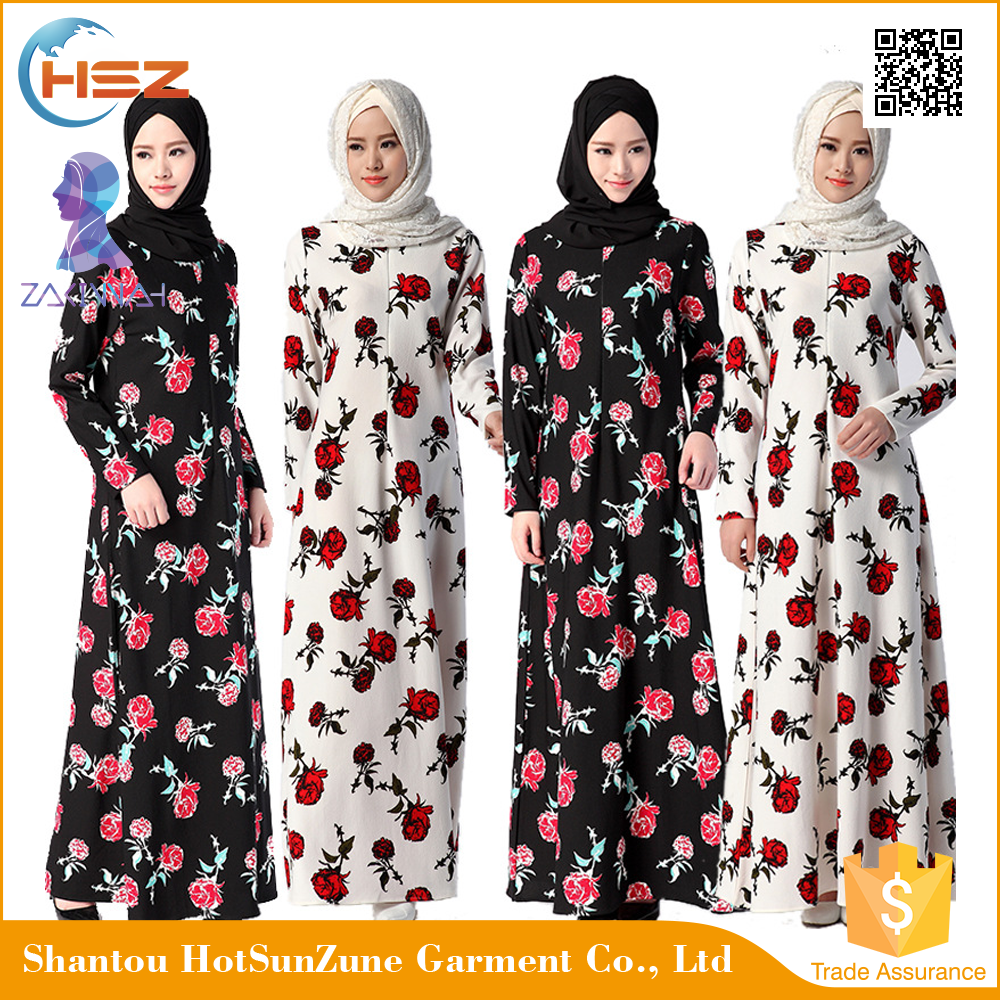 Zakiyyah 1046 Nice Price Long Lycra Floral Print Chiffon Dress New Design Muslim Women Abaya Of Jeddah Moroccan Caftan 2017