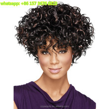 hot selling black heat resistant short afro kinky curly synthetic human hair wigs