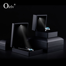 Oirlv China factory custom matte black rubber paint ring necklace jewellery Packaging boxes with velvet LED light jewelry box