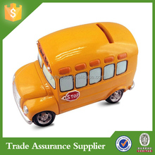 Promotional gifts Car shape Polyresin custom bus coin bank