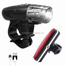 USB rechargeable bike light set including front and tail light