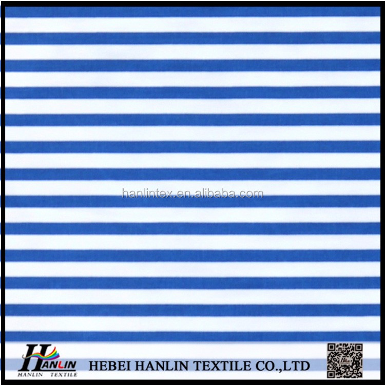 blue and white stripe printed poly cotton fabric for hospital sleepwear uniform fabric