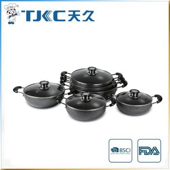 Non-stick Wok with Powder Coating and Glass Lid