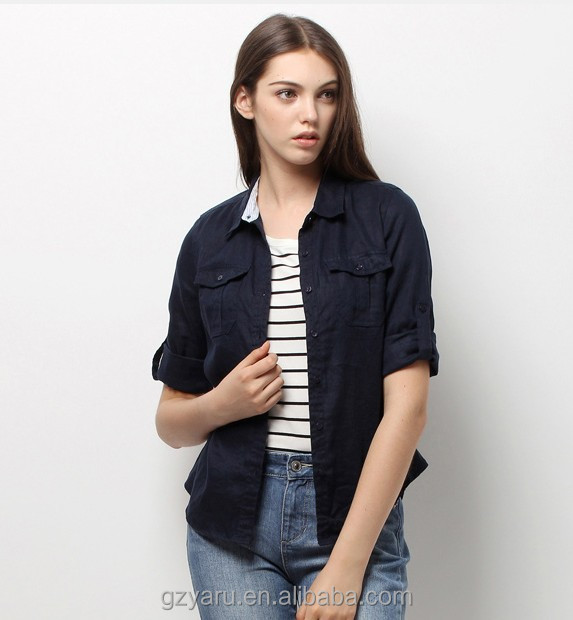 2014 Latest designs fall long sleeve casual dark blue cotton open blouse pictures