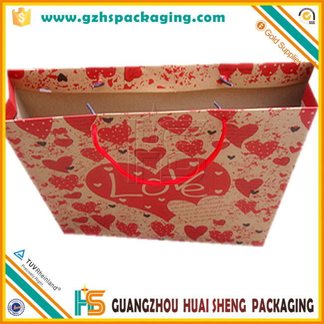 hot sale cmyk full color printed brown kraft paper bag