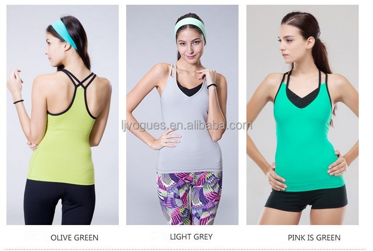 Wholesale Active Wear h Built-In Bra Gym Yoga Fitness Tank Top womens