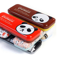 panda pattern printing metal tin case for pencil packaging