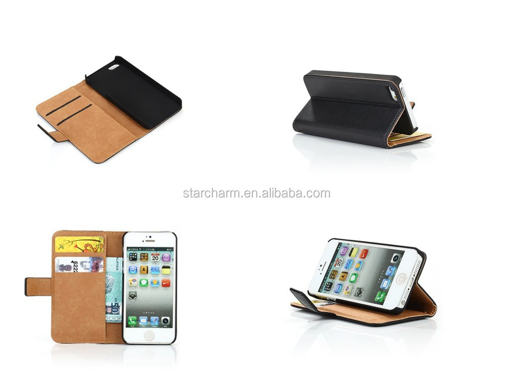 Flip Leather Wallet Cell Phone Case Cover For Apple iphone 5 5s