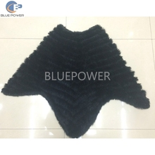 Rhombus latest design knitted rabbit fur poncho shawl for ladies