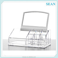 Clear Acrylic Cosmetic Beauty Stand Holder With Mirror Make Up Organiser