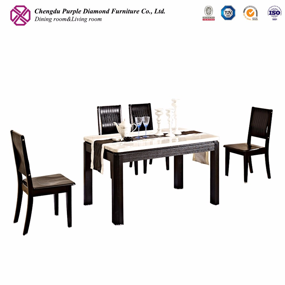 Black lacquer dining room furniture rectangular marble dining table set