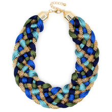 Fashion Weaved Handmade Collars Necklace <strong>Chain</strong> Twined Yarn Thread Chunky Choker Wide Maxi Statement Necklaces Big Jewelry