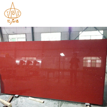 Crystal Red Solid Surface Polished Artificial Quartz Stone Slab Countertop