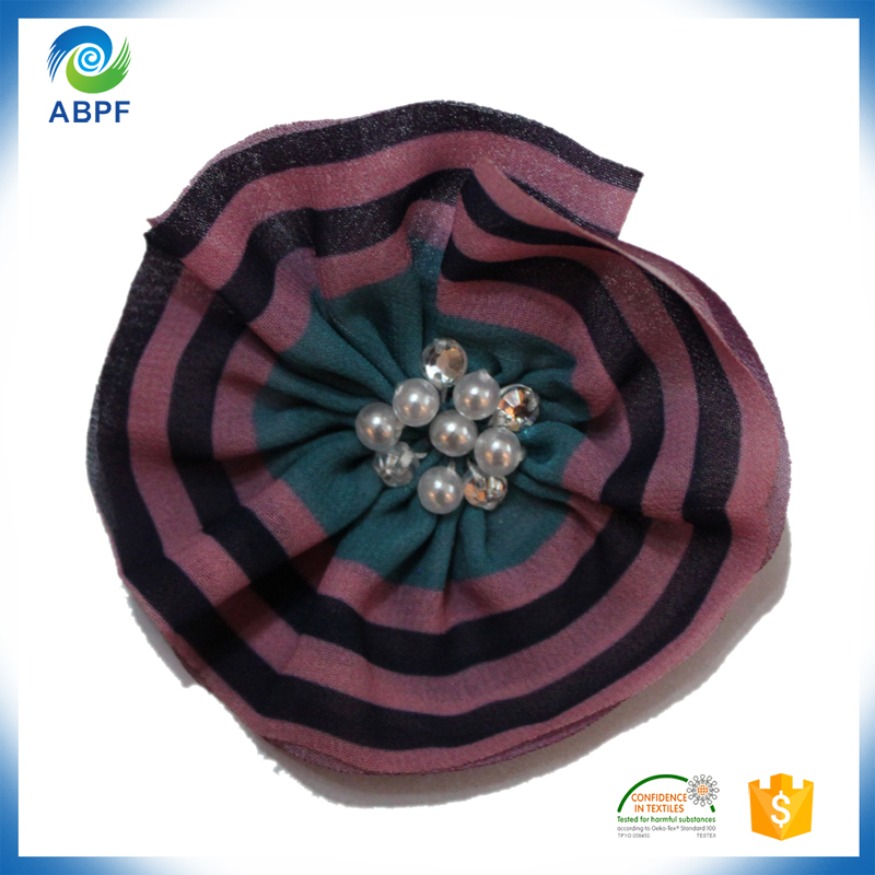 beaded with decorative fabric flower for clothing