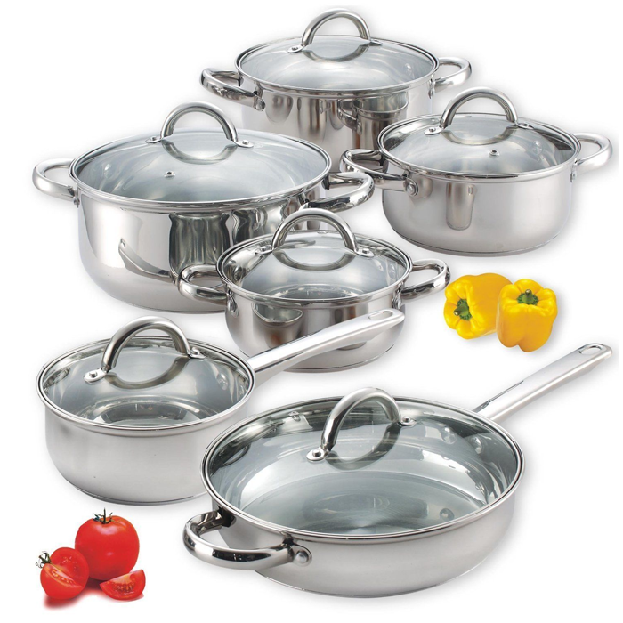 Stainless steel pots and pans 12 piece set lids kitchen for Buy kitchen cookware