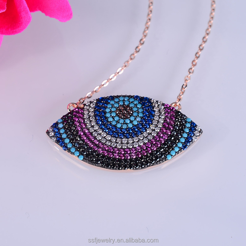 gold plated women micro pave zircon turkish jewelry evil eye pendant